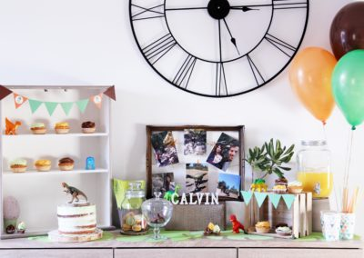 Buffet d'anniversaire gourmand thème dinosaures, 3 ans Calvin- Montélimar